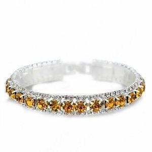 Jewelry - Gold Rhinestone Crystal Open Bracelet